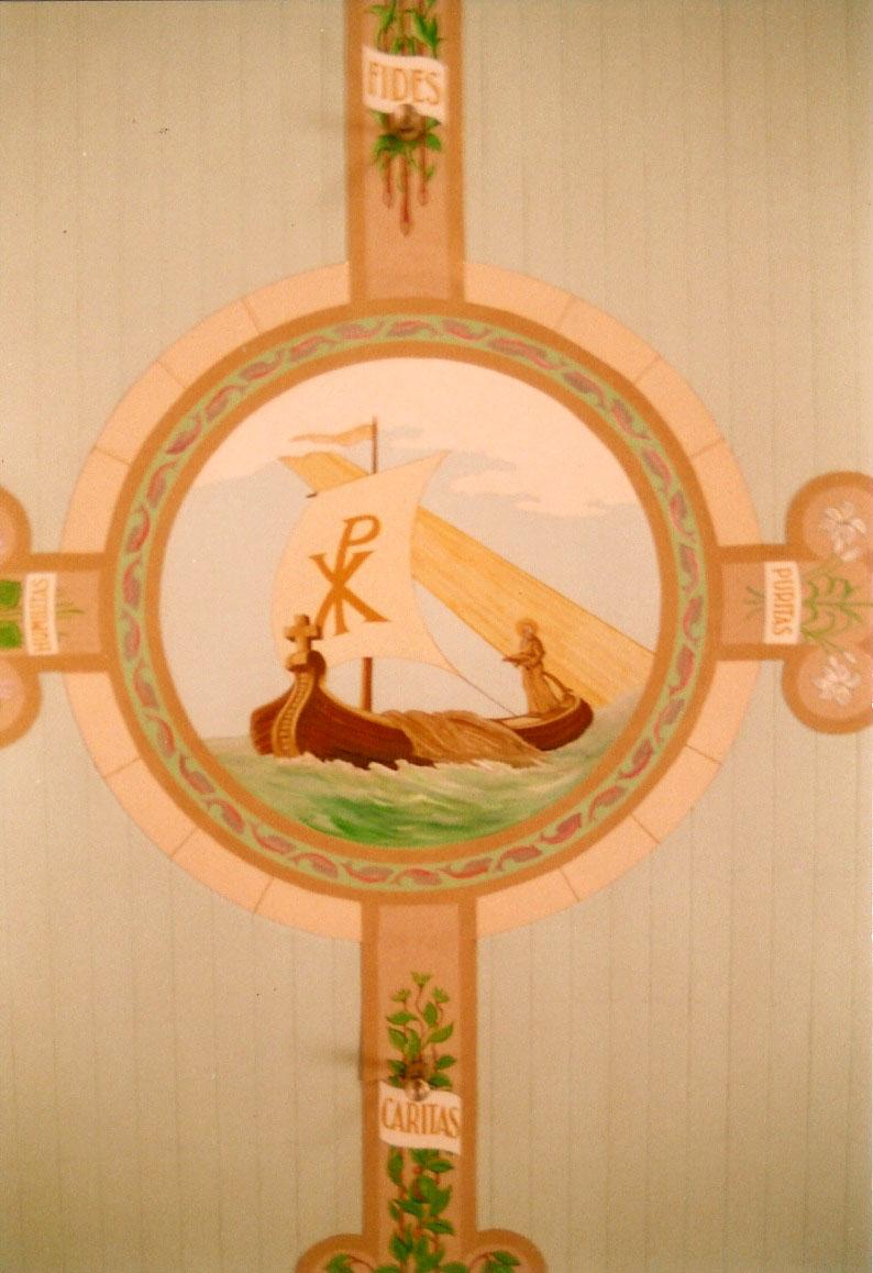 Fresque du plafond de la nef