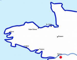 Localisation de Saint-Colomban au sud de Nantes
