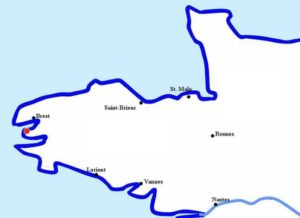 Localisation de Camaret sur la presqu'ïle de Crozon à l'ouest de la Bretagne